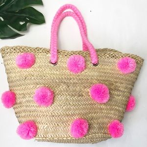 Handbags - NWOT Pom Pom straw pink Tote beach  Bag